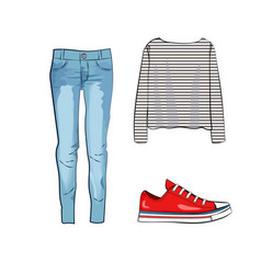 Fashion set with jeans trousers striped shirt and vector