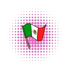 Flag of mexico icon comics style vector