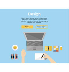 flat designer workplace template vector image
