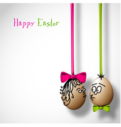 Funny easter eggs with a bow vector