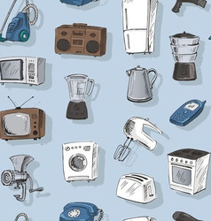 Hand drawn household appliances seamless vector image