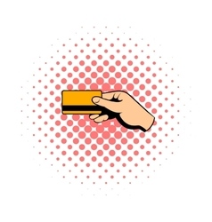 Hand holding credit card comics icon vector