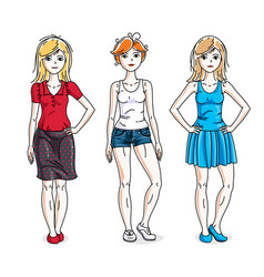 happy cute young women group standing wearing vector image vector image