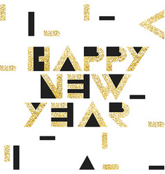 Happy new year postcard golden gold geometric vector