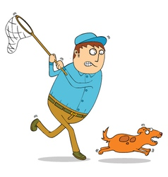 Man chasing dog vector image