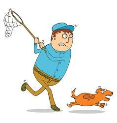 Man chasing dog vector