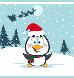 merry christmas greeting with cute penguin vector image vector image