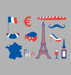 Paris icons set Traditional French national vector image vector image