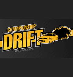 race car drifting flat banner vector image