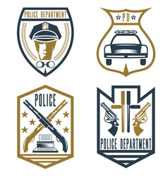 Set of vintage police law enforcement badges vector