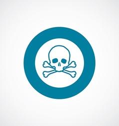 Skull icon bold blue circle border vector