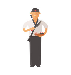 sushi master young chef decorating delicious vector image vector image
