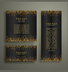 Three dark banners with glitter or sparkles vector