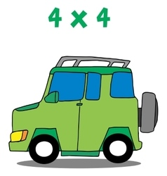 Transportation 4x4 cartoon art vector