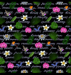 tropical lettering seamless pattern vector image vector image
