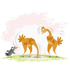 two ostriches and crow vector image vector image
