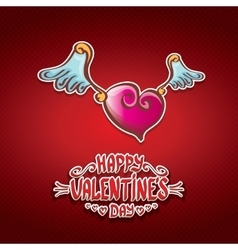 valentines day cartoon style heart label vector image