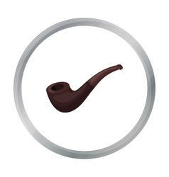 Tobacco pipe icon in cartoon style isolated on vector
