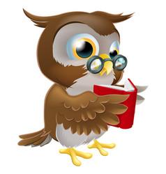 cartoon owl reading a book vector image
