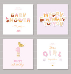 Birthday and girl baby shower invitation cards set vector