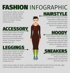 Girl in long dress fashion infographic vector