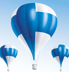 Hot balloons painted as finland flag vector