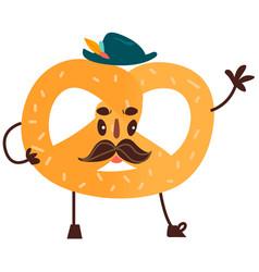 Sweet humanized pretzel character isolated vector