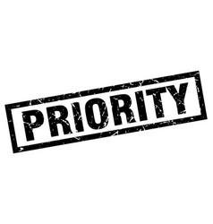Square grunge black priority stamp vector