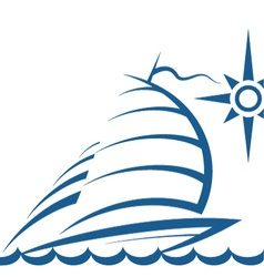 Yacht on the waves vector