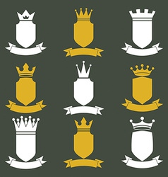 Collection of empire design elements heraldic vector