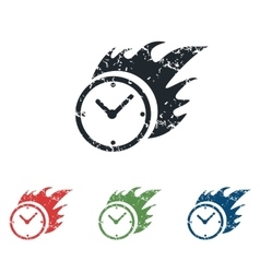 Burning clock grunge icon set vector