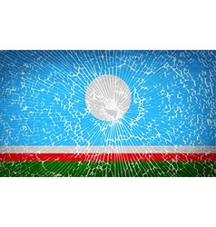 Flags sakha republic with broken glass texture vector
