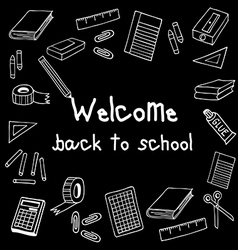 Welcome back to school black board vector