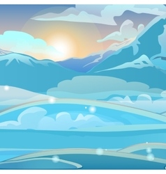 Snow valley at dawn with mountains vector