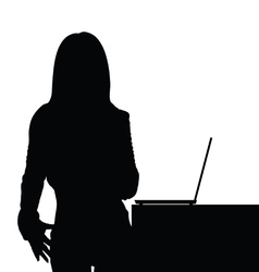 Girl beauty front of laptop silhouette vector