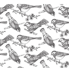 Seamless pattern with hand drawn ornate birds on vector