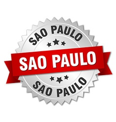 Sao Paulo round silver badge with red ribbon vector image