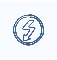Lightning arrow downward sketch icon vector