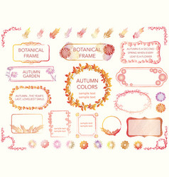 a set of frames of various flowers and plan vector image vector image