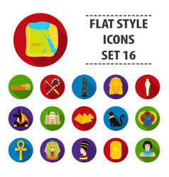 Ancient egypt set icons in flat style big vector