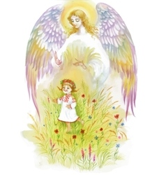 Beautiful angel with wings flying over baby girl vector
