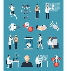 Bionics icons set vector