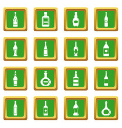 Bottle forms icons set green vector