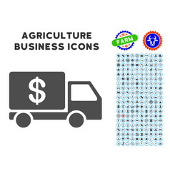 Cash delivery icon with agriculture set vector