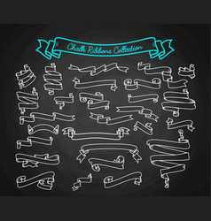 chalk ribbons ollection hand draw on black board vector image vector image