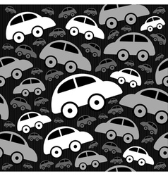 Cute seamless pattern with vintage cars vector