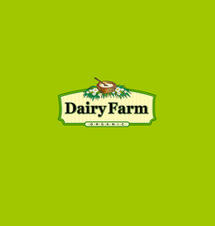 dairy organic farm logo vector image