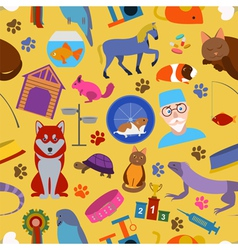 Domestic pets background pattern seamless vector