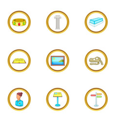 Excursion icons set cartoon style vector