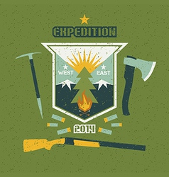 Expedition emblem with shabby texture vector image vector image